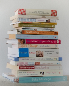 Stack of childcare books